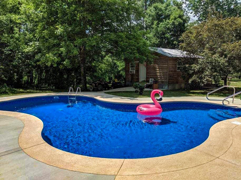 Law Pools & Patio walk in pool with flamingo floaty
