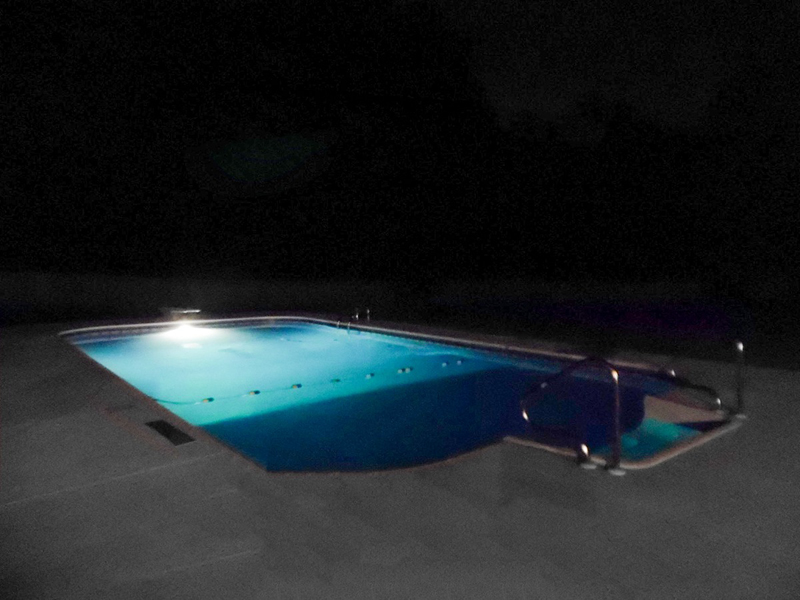 Law Pools & Patio pool with night lights